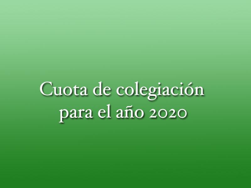 Cuota de colegiación para el año 2020